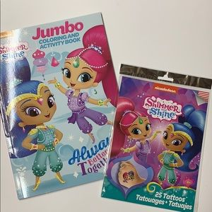 2PCS SHIMMER & SHINE COLORING BOOK AND 25 TATTOOS